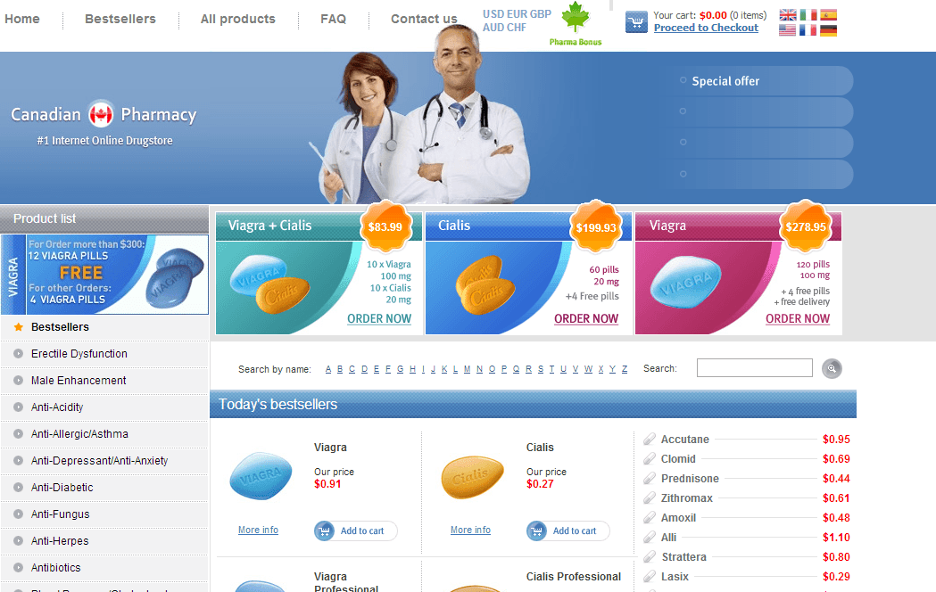 Canada Pharmacy is an online mail-order chain that markets prescription and non-prescription medications for all age groups. It is accredited by The Canadian International Pharmacy Association. Reviews report that customers find the service to be reliable because of its timely deliveries and good value for the money.