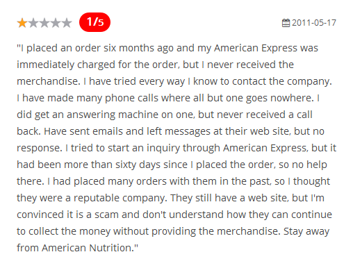 AmericanNutrition.com Reviews