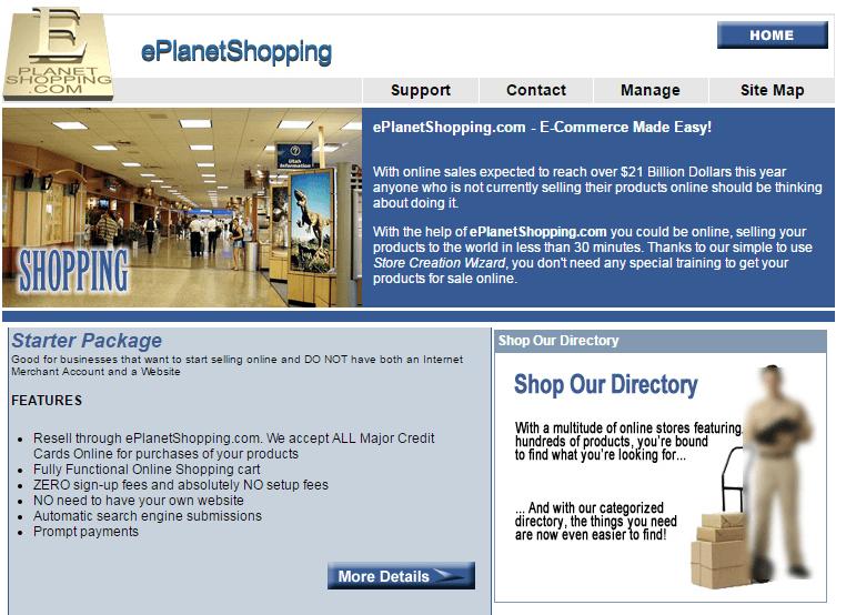 Eplanetshopping.com Main Page