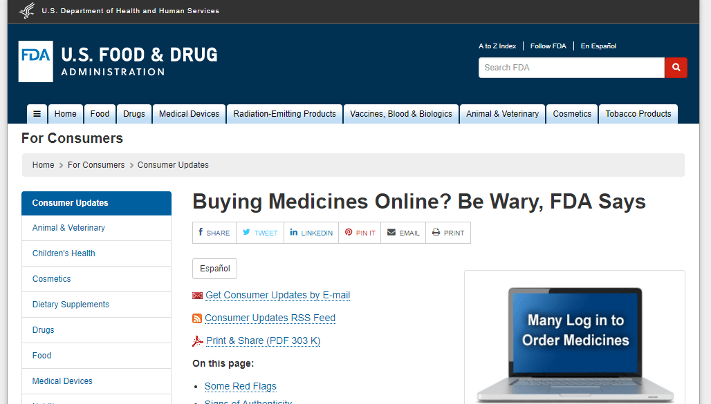 US FDA Website