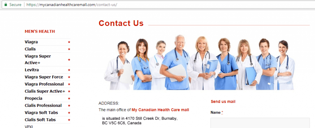 One of Canadian Health and Care Mall Websites